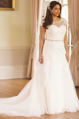 Jeweled Scoop Neck Cap Sleeve Lace Plus Size Wedding Dress