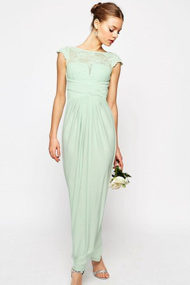 3d94c61bc434 Sheath Ankle-Length Bateau Neck Cap Sleeve Lace Chiffon Bridesmaid Dress ...