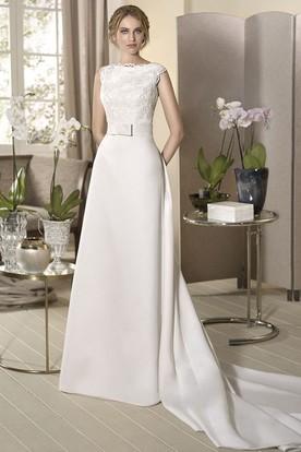 Sheath Liqued Cap Sleeve Floor Length Bateau Neck Satin Wedding Dress