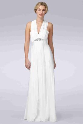 3a6523e630b Sheath Sleeveless V-Neck Pleated Floor-Length Chiffon Wedding Dress With  Broach ...