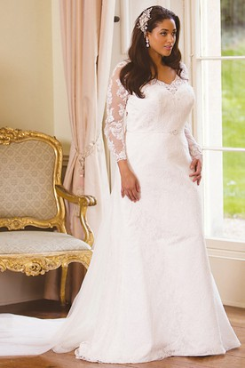 9c6d2a74c2 Long-Sleeve Floor-Length V-Neck Lace Plus Size Wedding Dress With Appliques  ...