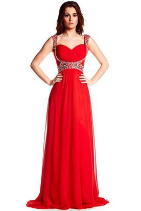 1f0dba175d Strapped Criss-Cross Sleeveless Chiffon Prom Dress ...