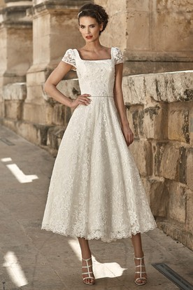 059501382a5 A-Line Appliqued Short-Sleeve Square-Neck Tea-Length Lace Wedding Dress ...