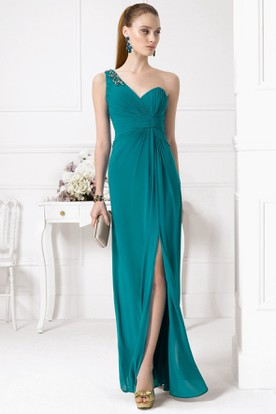 Sheath One-Shoulder Split-Front Sleeveless Chiffon Prom Dress