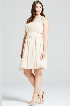 Neutral Chiffon Dress
