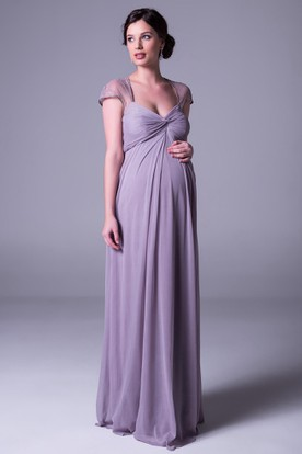 Ruched Cap Sleeve V Neck Empire Chiffon Bridesmaid Dress With Lace And Keyhole