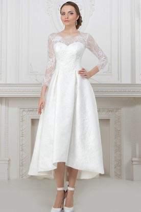A Line Long Sleeve High Low Scoop Neck Lace Wedding Dress With ...