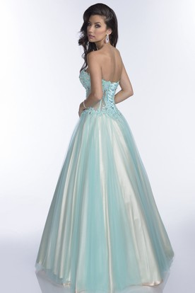 3455a865b53 ... Sweetheart Tulle A-Line Gown With Lace Appliques And Lace-Up Back