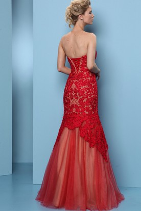 Mermaid Floor-Length Appliqued Sweetheart Sleeveless Tulle Prom Dress