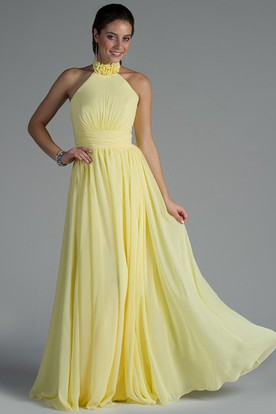 Yellow Bridesmaid Dresses with Hat