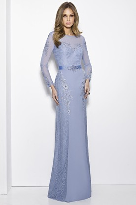 Sheath Long-Sleeve Jewel-Neck Lace Long Prom Dress With Appliques d45861ef65ee