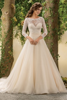 Winter wedding dresses winter bridal gowns ucenter dress 3 4 sleeved a line wedding dress with lace bodice and deep v junglespirit Gallery