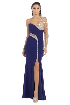 cdab5237724 Sheath One-Shoulder Illusion Long Sleeve Jersey Dress With Split Front And  Beading ...