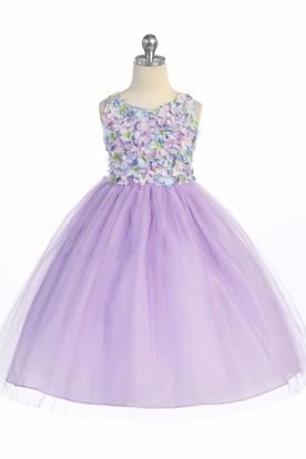 Purple Flower Girl Dress with Sash
