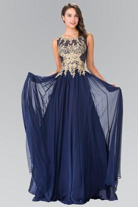 A Line Maxi Bateau Sleeveless Chiffon Illusion Dress With Appliques And Pleats