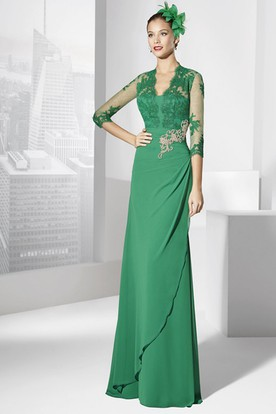 994cedd737d Sheath V-Neck Floor-Length Appliqued Half-Sleeve Jersey Prom Dress ...