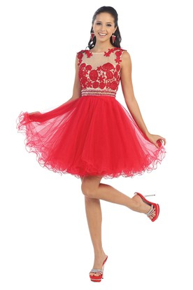4890524bc0a A-Line Short Scoop-Neck Sleeveless Tulle Illusion Dress With Ruffles And  Appliques ...