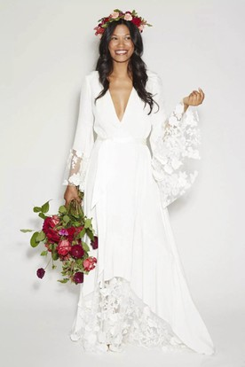 Simple Bohemian Long Sleeves Deep V Neck Hippie Beach Wedding Gown ...