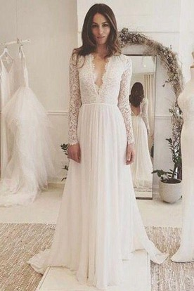 58a532c3ea2 A Line V-neck Chiffon Lace Backless Wedding Gown ...