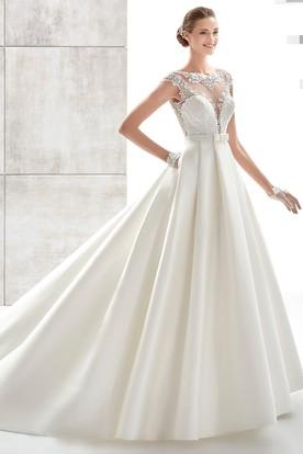 22147877b Jewel-Neck A-Line Satin Wedding Dress With Illusive Design And Lace Bodice  ...