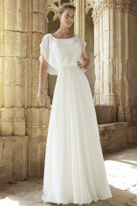 A Line Floor Length Poet Sleeve Square Chiffon Wedding Dress With Deep  ...