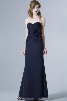 Sweetheart Sleeveless Criss Cross Chiffon Bridesmaid Dress With Flower