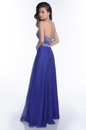 7d5567d3cd8 ... Empire Chiffon Sweetheart A-Line Prom Dress Featuring Jeweled Bust