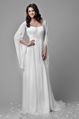 Bohemia Chiffon A Line Empire Wedding Dress With Beaded Lace Appliques And Poet Sleeve