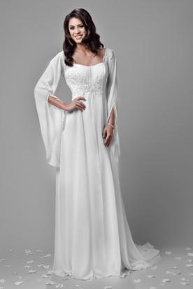 f4f2901a27e Bohemia Chiffon A-Line Empire Wedding Dress With Beaded Lace Appliques And  Poet Sleeve