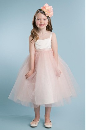 Pink flower girl dresses flower girl dresses shop by color spaghetti tea length empire tiered tullesatin flower girl dress mightylinksfo Image collections