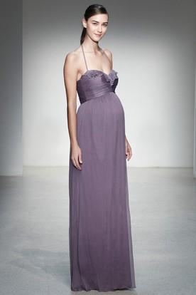 77f19cd46b4ac7 Empire Spaghetti Chiffon Bridesmaid Dress With Ruching