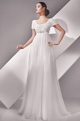 a546a081c988d Empire Short Sleeve Long Scoop Neckline Button Back Dress With Crystal  Detailing ...