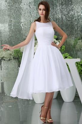 482c56ebf33 Sleeveless Chiffon A-Line Tea-Length Dress with Pleats ...