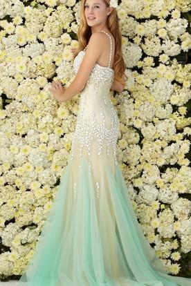 3183c55ccf ... Muti-Color Mermaid Long Spaghetti Sleeveless Tulle Jersey Dress With  Beading