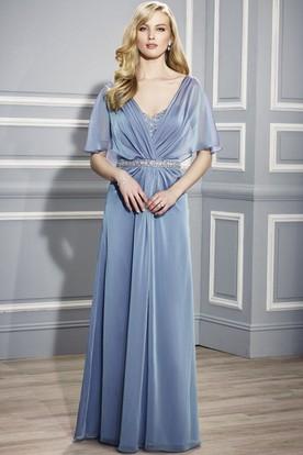 fe7e4bb6490e Maxi V-Neck Poet Sleeve Beaded Jersey Mother Of The Bride Dress ...