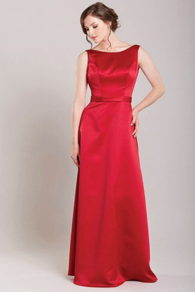 Sleeveless Scoop Neck Ribboned Satin Bridesmaid Dress With Low V Back