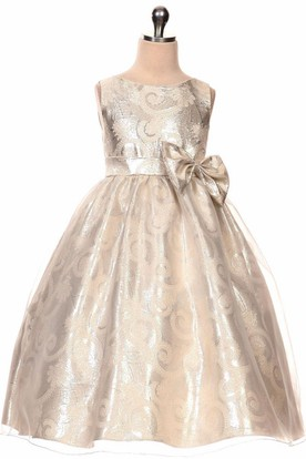 7fcffb13b9 Tea-Length Tiered Bowed Sequins Organza Flower Girl Dress With ...