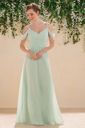 Off-Shoulder A-Line Floor-Length Bridesmaid Dress With Ruches And V- ... a4d2558289fb