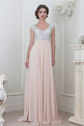 A-Line Cap-Sleeve Empire V-Neck Floor-Length Beaded Chiffon Evening ... 87f4c20c0573