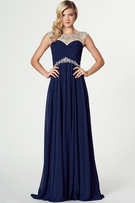 abc12d5e4a7 Bateau Neck Beaded Sleeveless Chiffon Prom Dress ...