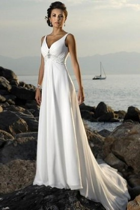 0cf28a800e71 Empire V-neck Court Trains Sleeveless Chiffon Beach Wedding Dresses for  Brides ...