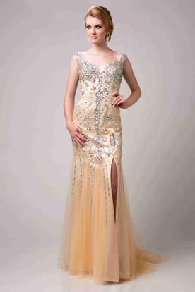 7b4c7fea1d Colorful Rhinestone Sheath Tulle Prom Dress With Side Slit ...