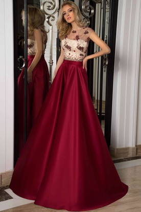 A-Line Scoop Cap-Sleeve Floor-Length Lace Satin Prom Dress With Lace ... 6c933099b