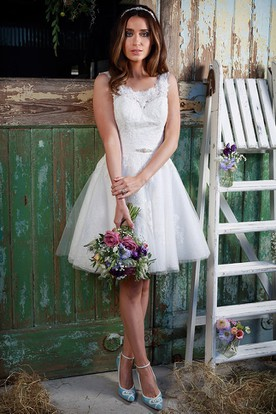Simple short wedding dresses casual wedding dresses ucenter dress a line jeweled short sleeveless square neck lace wedding dress with appliques and v junglespirit Choice Image