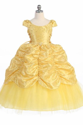 Yellow flower girl dresses flower girl dresses shop by color ankle length tiered embroideried lacetaffeta flower girl dress with broach mightylinksfo