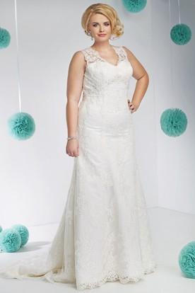 Courthouse wedding dresses informal wedding dresses ucenter dress v neck long appliqued sleeveless lace plus size wedding dress junglespirit Images
