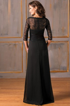 c554abd657b ... 3-4 Sleeved Long Chiffon Mother Of The Bride Dress With Lace And Sweep  Train