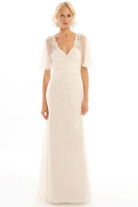 Exceptionnel Long V Neck Appliqued Poet Sleeve Tulle Wedding Dress With Sweep Train And  Illusion ...