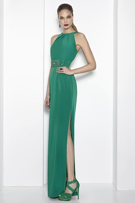 Sheath Floor Length Split Front High Neck Sleeveless Jersey Prom Dress