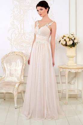 55e952f778ee A-Line Ruched V-Neck Sleeveless Long Tulle Wedding Dress With Appliques And  Pleats ...